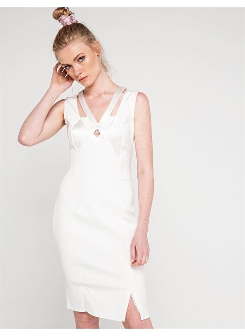 Love'n Fashion Paris Kısa Abiye Elbise Ekru